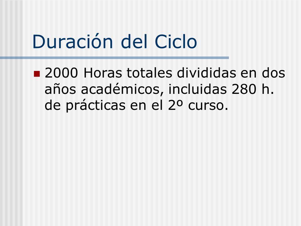 Duración del Ciclo 2000 Horas totales divididas en dos años académicos, incluidas 280 h. de prácticas en el 2º curso.