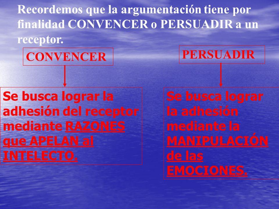 Recordemos que la argumentación tiene por finalidad CONVENCER o PERSUADIR a un receptor. CONVENCER Se busca lograr la adhesión del receptor mediante R
