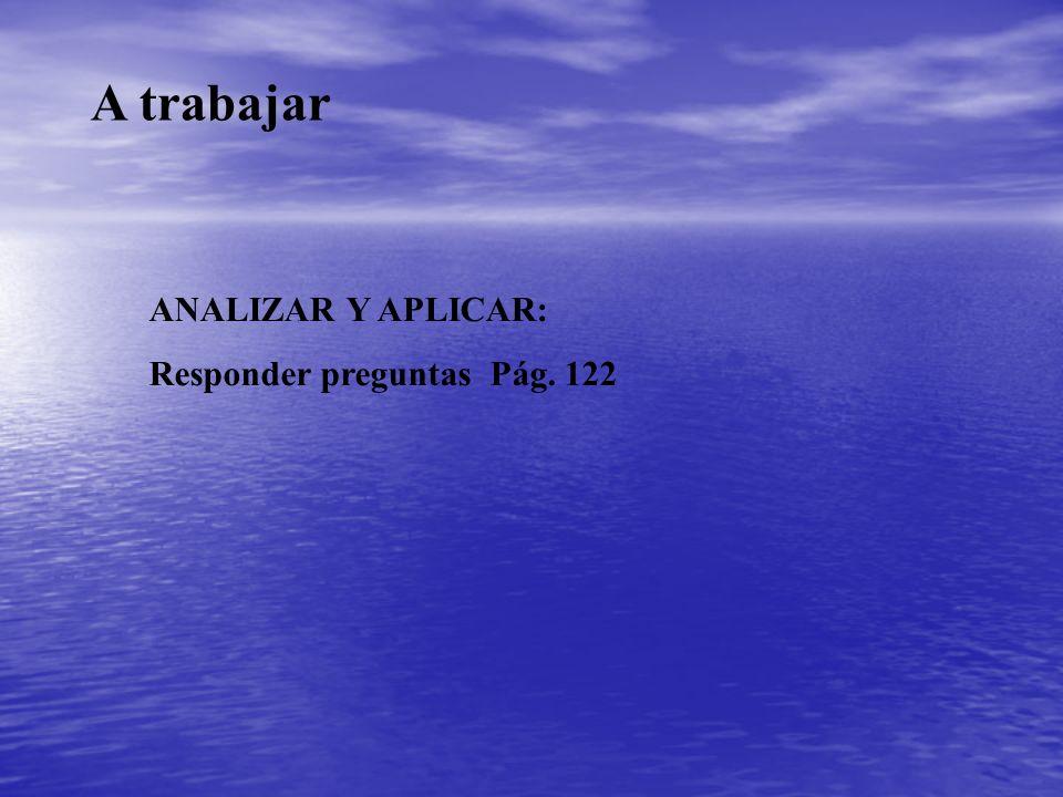 A trabajar ANALIZAR Y APLICAR: Responder preguntas Pág. 122