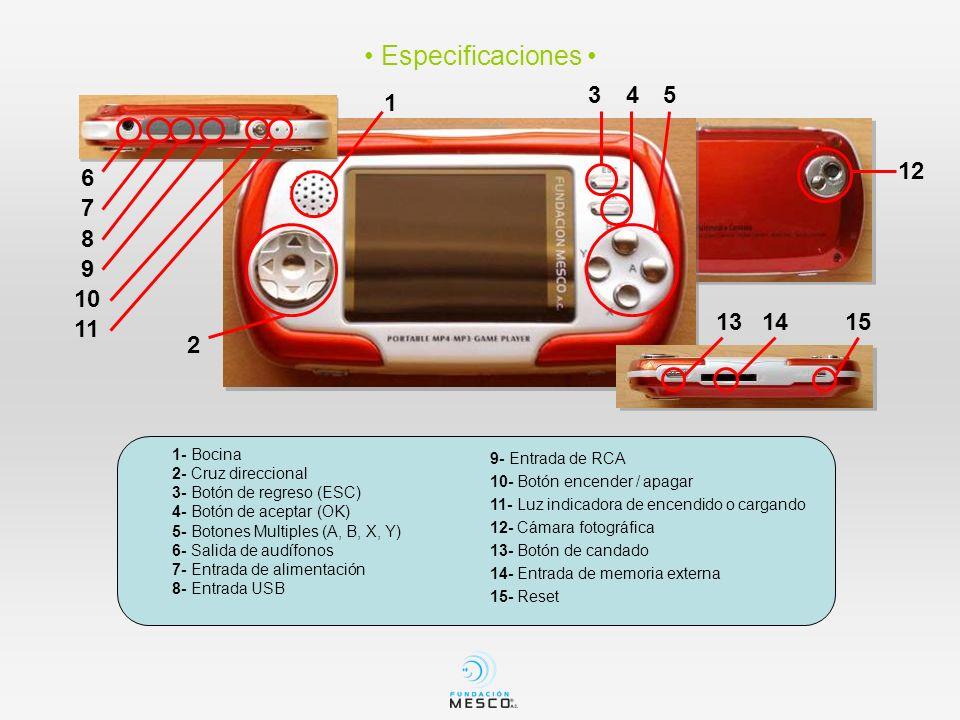 1- Bocina 2- Cruz direccional 3- Botón de regreso (ESC) 4- Botón de aceptar (OK) 5- Botones Multiples (A, B, X, Y) 6- Salida de audífonos 7- Entrada d