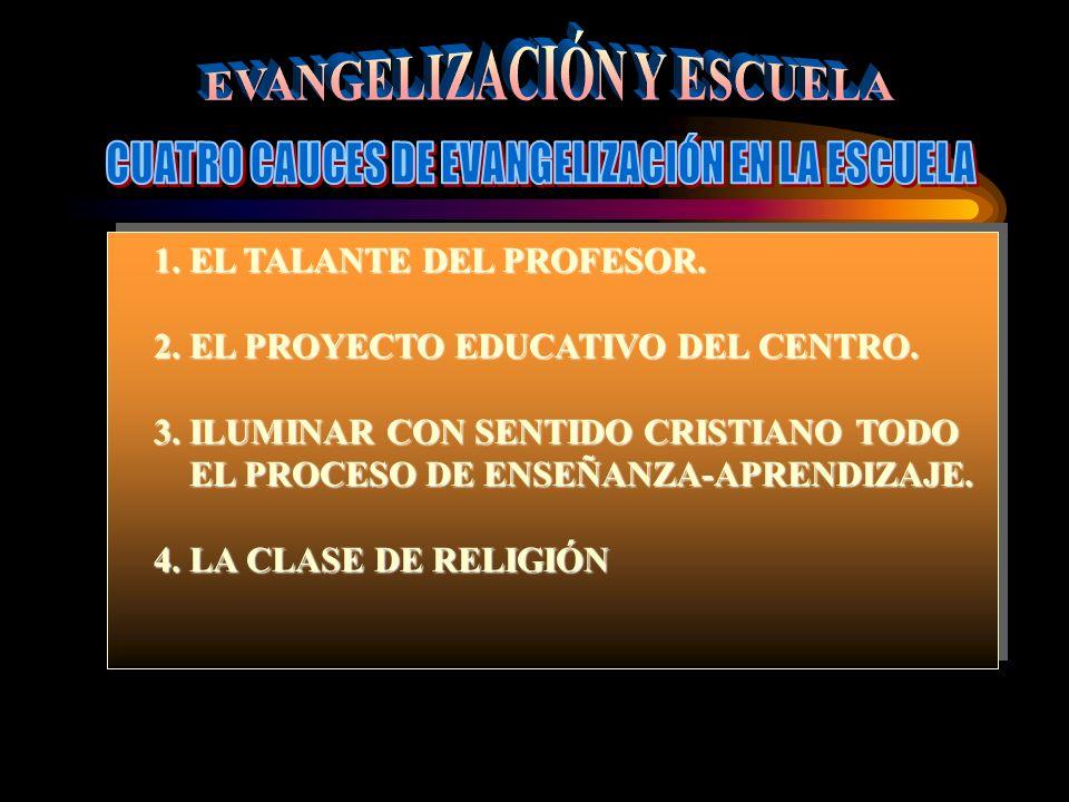 1. EL TALANTE DEL PROFESOR. 2. EL PROYECTO EDUCATIVO DEL CENTRO.