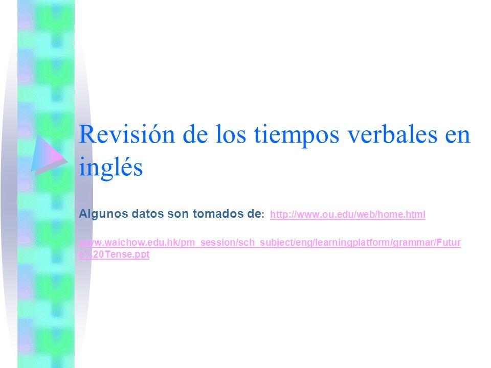 Revisión de los tiempos verbales en inglés Algunos datos son tomados de : http://www.ou.edu/web/home.htmlhttp://www.ou.edu/web/home.html www.waichow.edu.hk/pm_session/sch_subject/eng/learningplatform/grammar/Futur e%20Tense.ppt