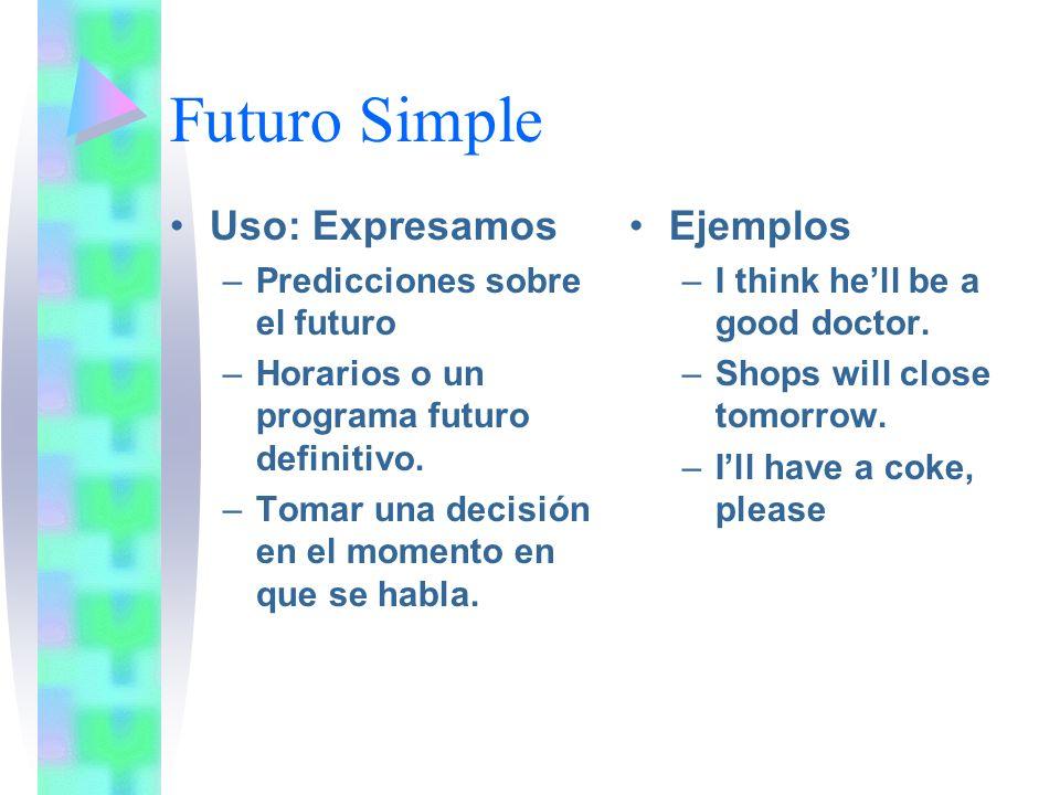 Futuro Simple Uso: Expresamos –Predicciones sobre el futuro –Horarios o un programa futuro definitivo.