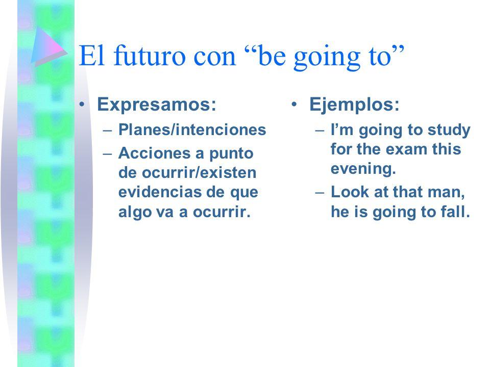 El futuro con be going to Expresamos: –Planes/intenciones –Acciones a punto de ocurrir/existen evidencias de que algo va a ocurrir.