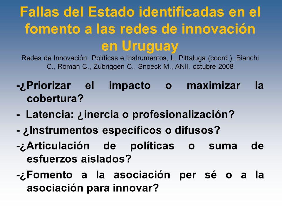 Fallas del Estado identificadas en el fomento a las redes de innovación en Uruguay Redes de Innovación: Políticas e Instrumentos, L. Pittaluga (coord.
