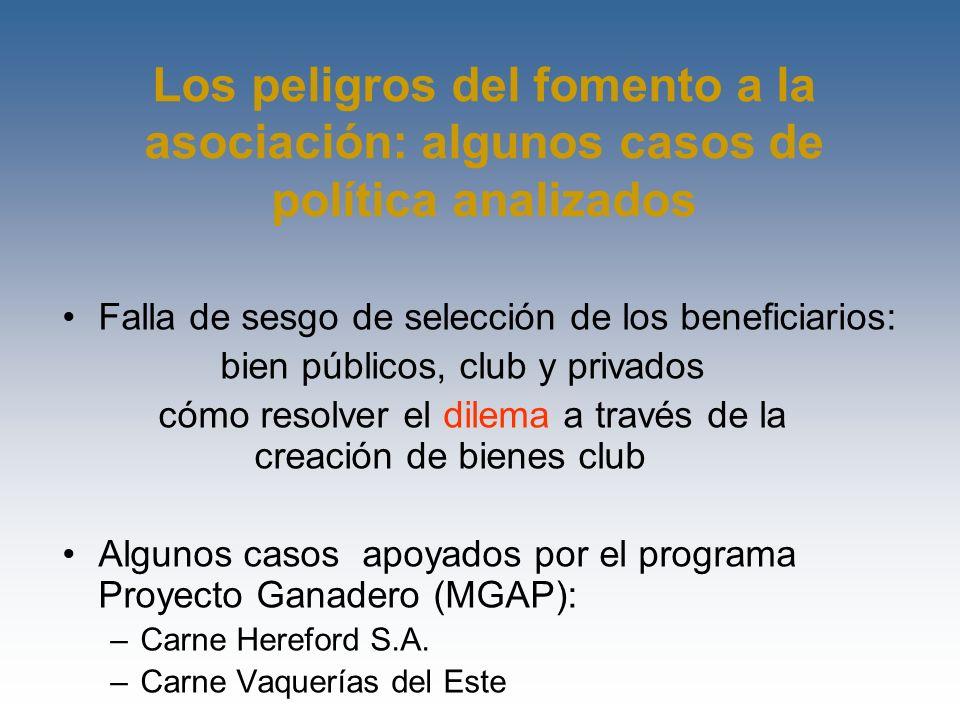 Los peligros del fomento a la asociación: algunos casos de política analizados Falla de sesgo de selección de los beneficiarios: bien públicos, club y