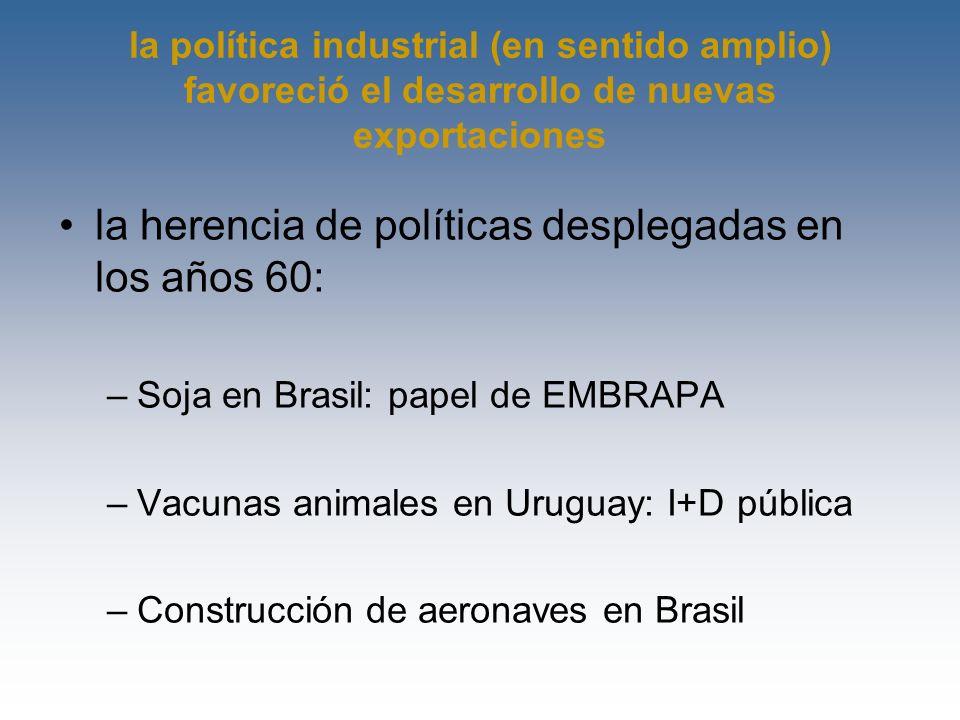 la política industrial (en sentido amplio) favoreció el desarrollo de nuevas exportaciones la herencia de políticas desplegadas en los años 60: –Soja
