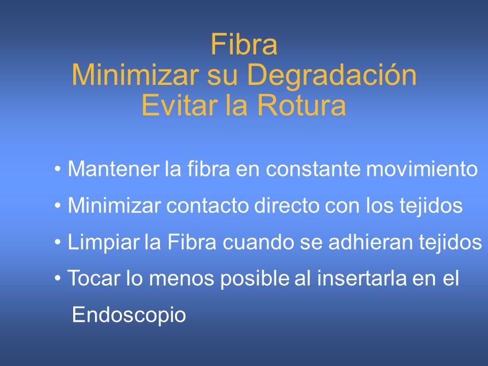 Fibra Minimizar su Degradación Evitar la Rotura Mantener la fibra en constante movimiento Minimizar contacto directo con los tejidos Limpiar la Fibra cuando se adhieran tejidos Tocar lo menos posible al insertarla en el Endoscopio