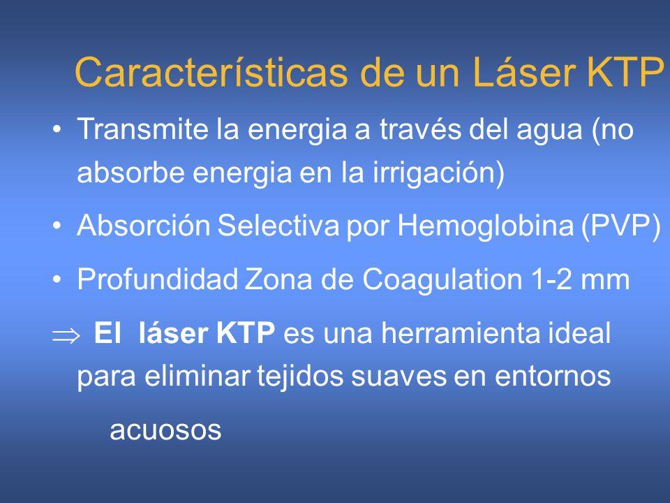 Características de un Láser KTP Transmite la energia a través del agua (no absorbe energia en la irrigación) Absorción Selectiva por Hemoglobina (PVP)