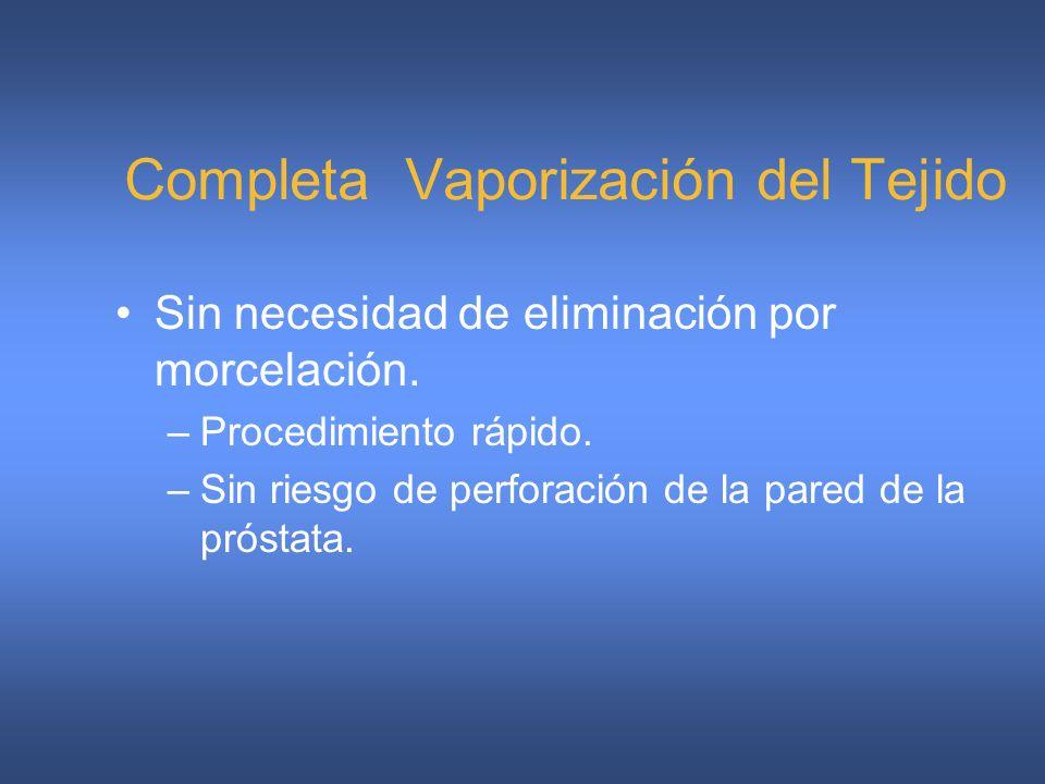 Completa Vaporización del Tejido Sin necesidad de eliminación por morcelación. –Procedimiento rápido. –Sin riesgo de perforación de la pared de la pró