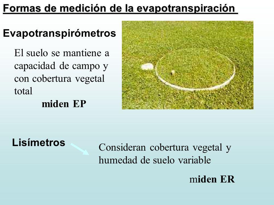 Formas de medición de la evapotranspiración Evapotranspirómetros El suelo se mantiene a capacidad de campo y con cobertura vegetal total miden EP Lisí
