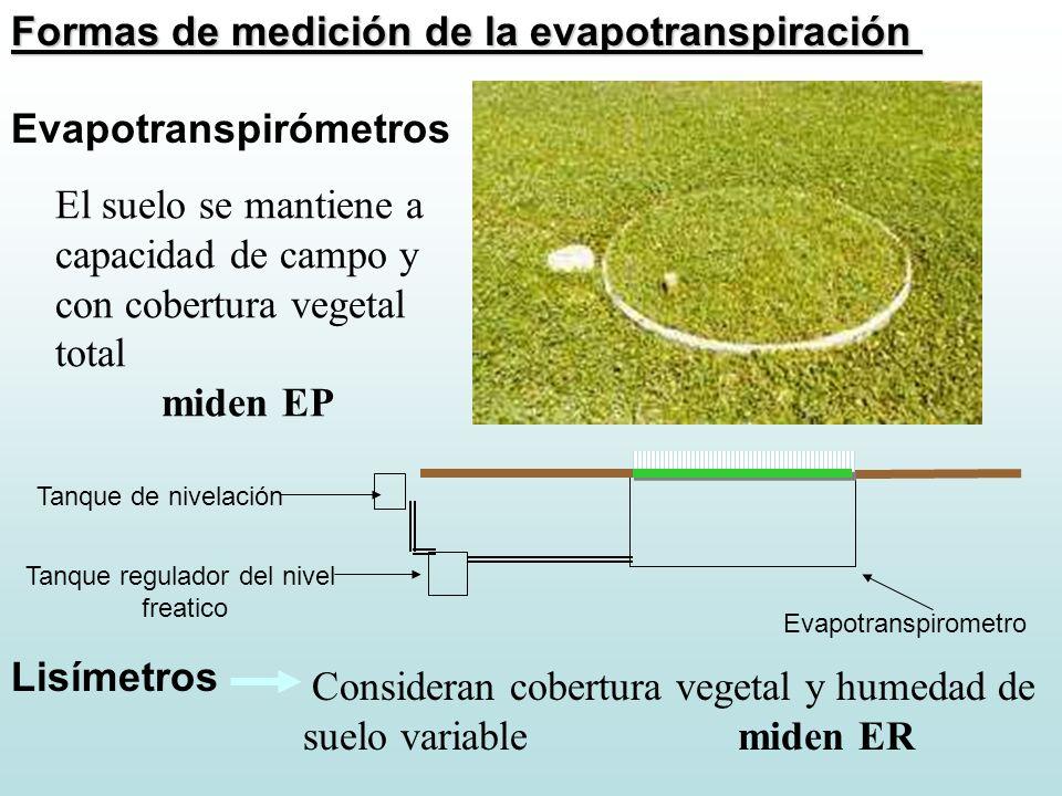 Formas de medición de la evapotranspiración Evapotranspirómetros Evapotranspirometro Tanque regulador del nivel freatico Tanque de nivelación El suelo