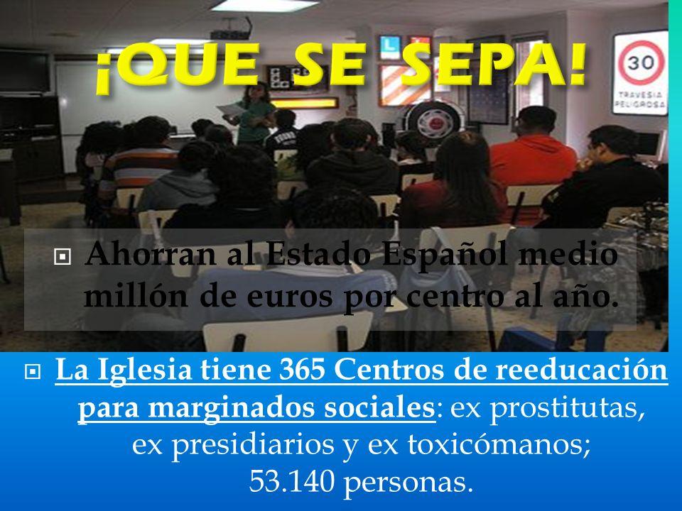 La Iglesia tiene 365 Centros de reeducación para marginados sociales : ex prostitutas, ex presidiarios y ex toxicómanos; 53.140 personas.