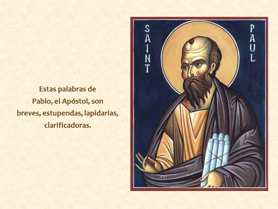 Estas palabras de Pablo, el Apóstol, son breves, estupendas, lapidarias, clarificadoras.