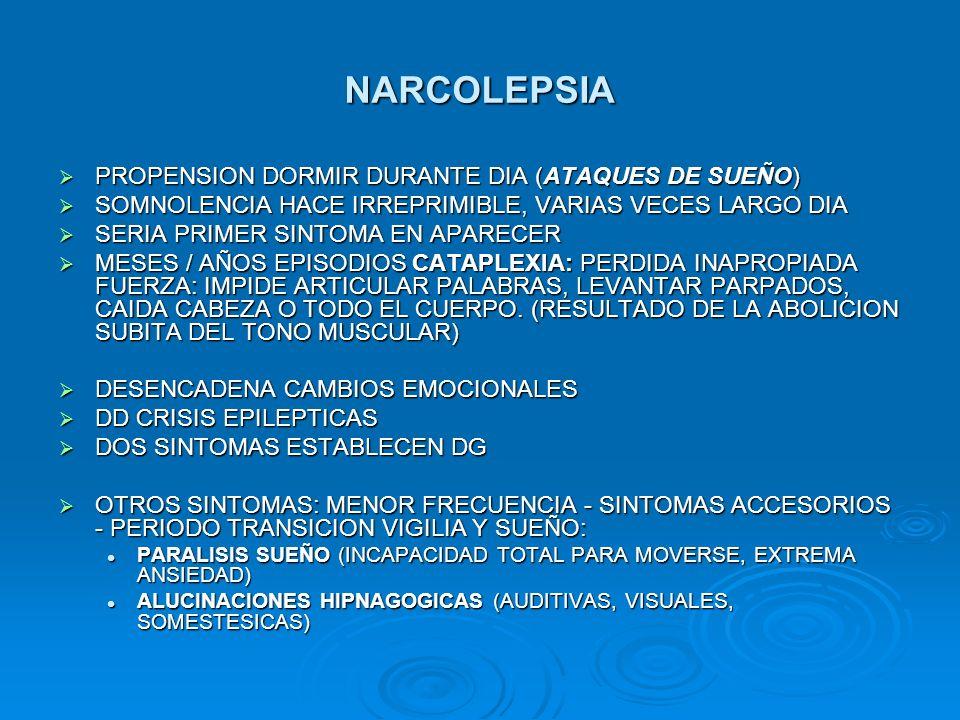 NARCOLEPSIA PROPENSION DORMIR DURANTE DIA (ATAQUES DE SUEÑO) PROPENSION DORMIR DURANTE DIA (ATAQUES DE SUEÑO) SOMNOLENCIA HACE IRREPRIMIBLE, VARIAS VE