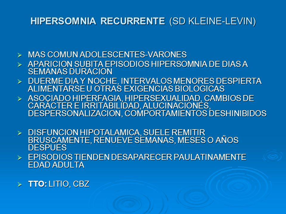 HIPERSOMNIA RECURRENTE (SD KLEINE-LEVIN) MAS COMUN ADOLESCENTES-VARONES MAS COMUN ADOLESCENTES-VARONES APARICION SUBITA EPISODIOS HIPERSOMNIA DE DIAS