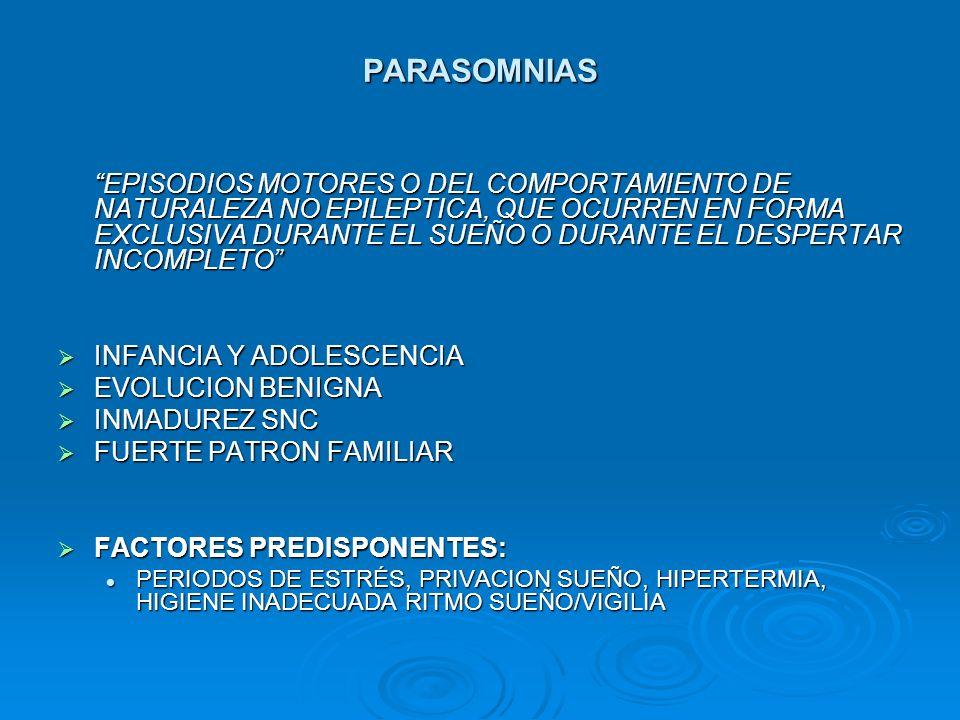 PARASOMNIAS EPISODIOS MOTORES O DEL COMPORTAMIENTO DE NATURALEZA NO EPILEPTICA, QUE OCURREN EN FORMA EXCLUSIVA DURANTE EL SUEÑO O DURANTE EL DESPERTAR