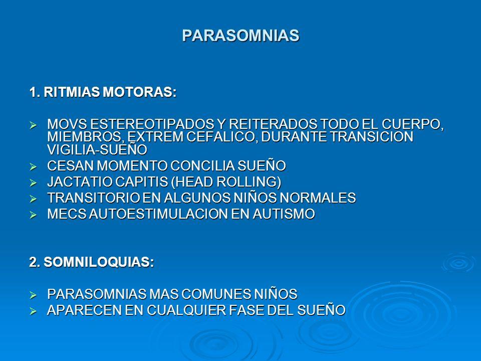 PARASOMNIAS 1. RITMIAS MOTORAS: MOVS ESTEREOTIPADOS Y REITERADOS TODO EL CUERPO, MIEMBROS, EXTREM CEFALICO, DURANTE TRANSICION VIGILIA-SUEÑO MOVS ESTE
