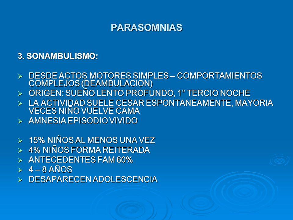 PARASOMNIAS 3. SONAMBULISMO: DESDE ACTOS MOTORES SIMPLES – COMPORTAMIENTOS COMPLEJOS (DEAMBULACION) DESDE ACTOS MOTORES SIMPLES – COMPORTAMIENTOS COMP