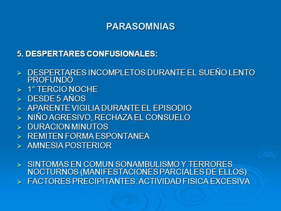 PARASOMNIAS 5. DESPERTARES CONFUSIONALES: DESPERTARES INCOMPLETOS DURANTE EL SUEÑO LENTO PROFUNDO DESPERTARES INCOMPLETOS DURANTE EL SUEÑO LENTO PROFU