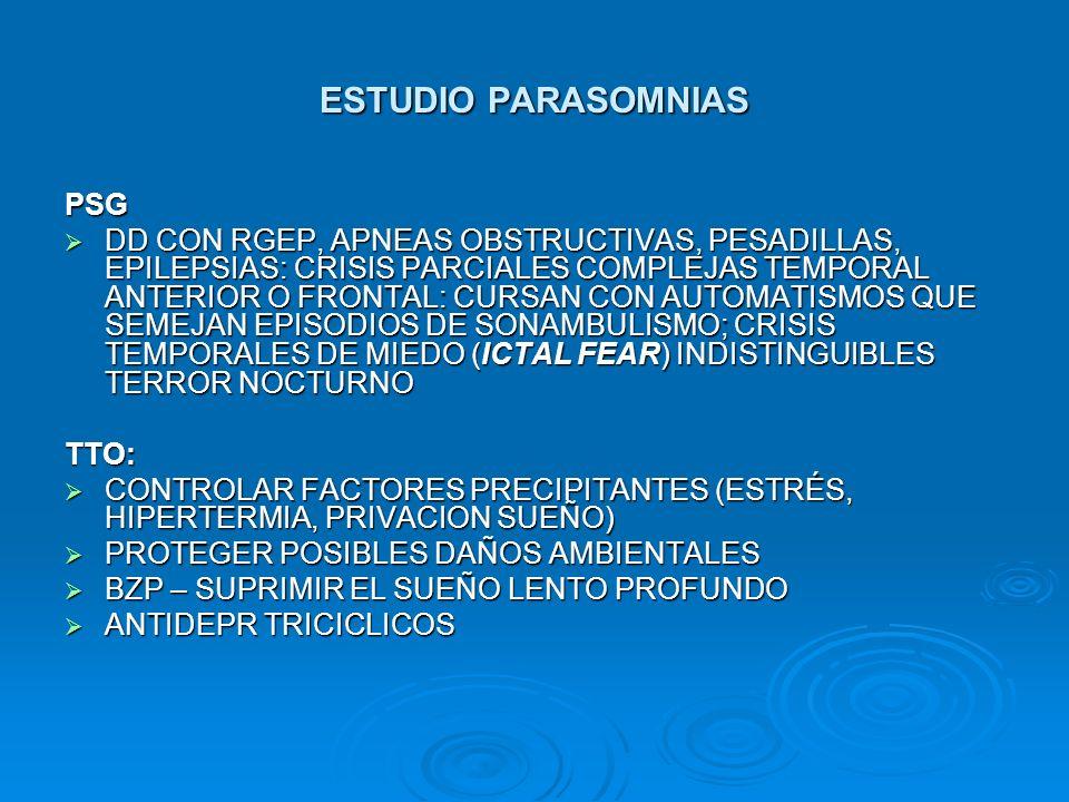 ESTUDIO PARASOMNIAS PSG DD CON RGEP, APNEAS OBSTRUCTIVAS, PESADILLAS, EPILEPSIAS: CRISIS PARCIALES COMPLEJAS TEMPORAL ANTERIOR O FRONTAL: CURSAN CON A
