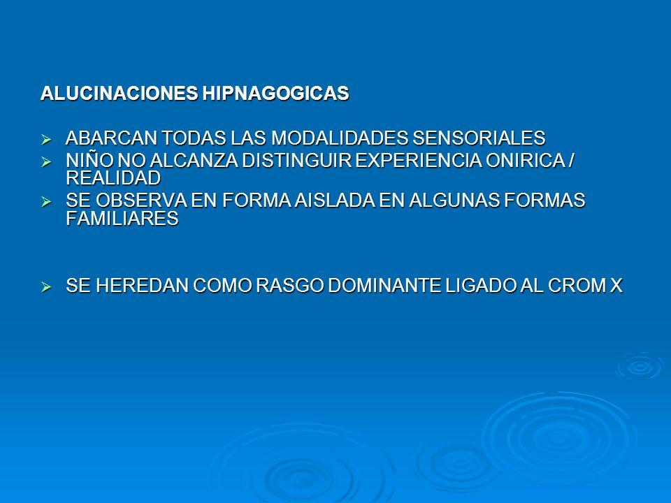 ALUCINACIONES HIPNAGOGICAS ABARCAN TODAS LAS MODALIDADES SENSORIALES ABARCAN TODAS LAS MODALIDADES SENSORIALES NIÑO NO ALCANZA DISTINGUIR EXPERIENCIA