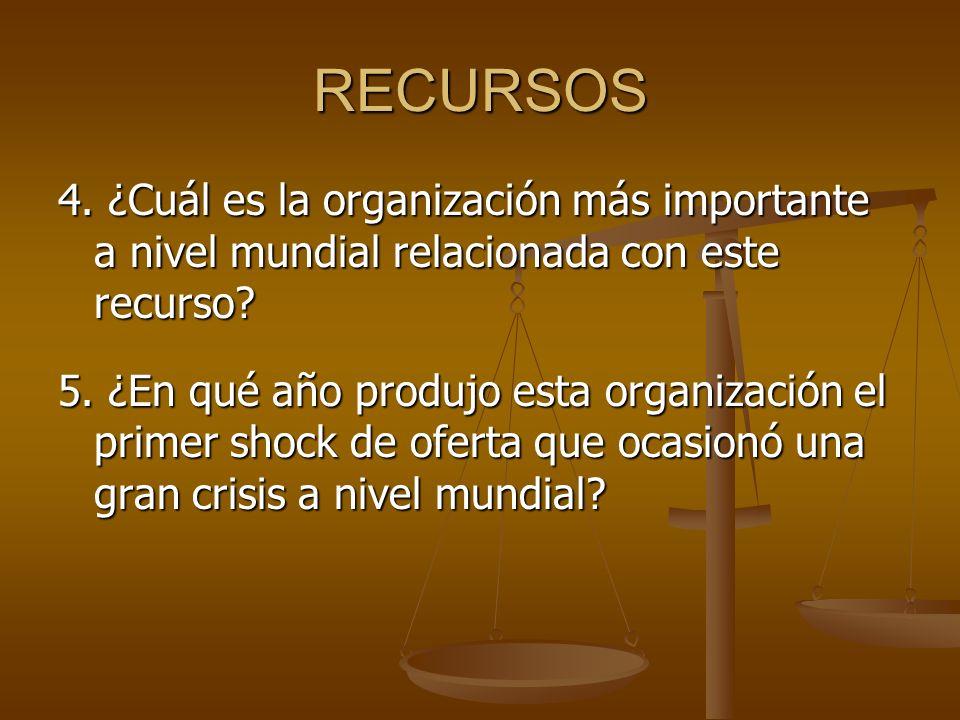 RECURSOS 4.¿Cuál es la organización más importante a nivel mundial relacionada con este recurso.