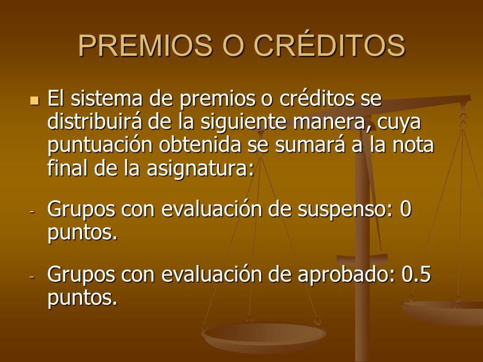 PREMIOS O CRÉDITOS El sistema de premios o créditos se distribuirá de la siguiente manera, cuya puntuación obtenida se sumará a la nota final de la asignatura: El sistema de premios o créditos se distribuirá de la siguiente manera, cuya puntuación obtenida se sumará a la nota final de la asignatura: - Grupos con evaluación de suspenso: 0 puntos.