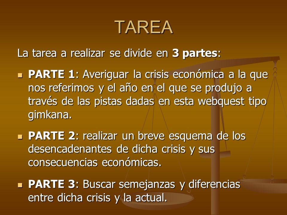 TAREA La tarea a realizar se divide en 3 partes: PARTE 1: Averiguar la crisis económica a la que nos referimos y el año en el que se produjo a través de las pistas dadas en esta webquest tipo gimkana.