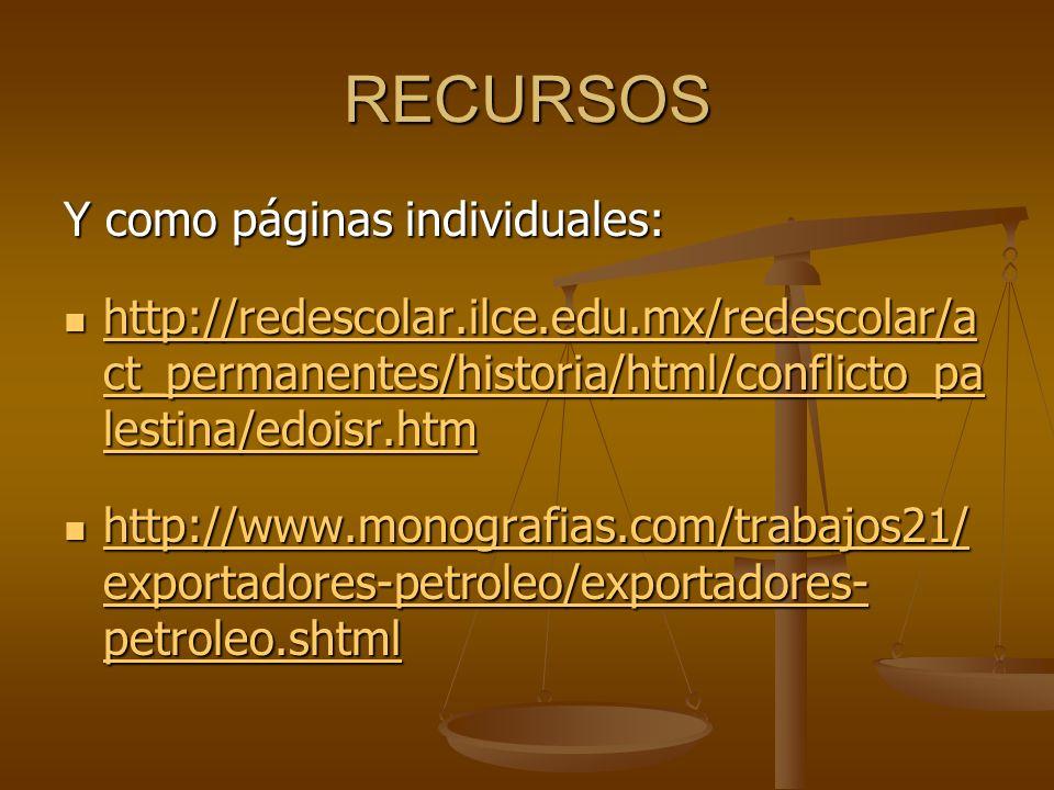 RECURSOS Y como páginas individuales: http://redescolar.ilce.edu.mx/redescolar/a ct_permanentes/historia/html/conflicto_pa lestina/edoisr.htm http://redescolar.ilce.edu.mx/redescolar/a ct_permanentes/historia/html/conflicto_pa lestina/edoisr.htm http://redescolar.ilce.edu.mx/redescolar/a ct_permanentes/historia/html/conflicto_pa lestina/edoisr.htm http://redescolar.ilce.edu.mx/redescolar/a ct_permanentes/historia/html/conflicto_pa lestina/edoisr.htm http://www.monografias.com/trabajos21/ exportadores-petroleo/exportadores- petroleo.shtml http://www.monografias.com/trabajos21/ exportadores-petroleo/exportadores- petroleo.shtml http://www.monografias.com/trabajos21/ exportadores-petroleo/exportadores- petroleo.shtml http://www.monografias.com/trabajos21/ exportadores-petroleo/exportadores- petroleo.shtml