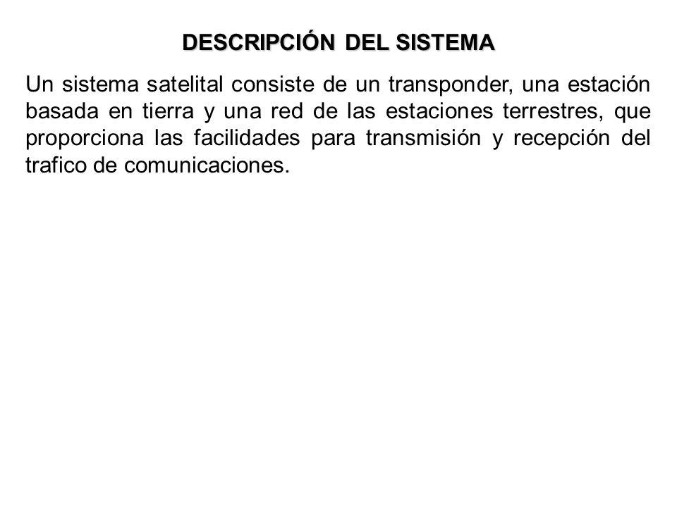 DESCRIPCIÓN DEL SISTEMA Un sistema satelital consiste de un transponder, una estación basada en tierra y una red de las estaciones terrestres, que pro