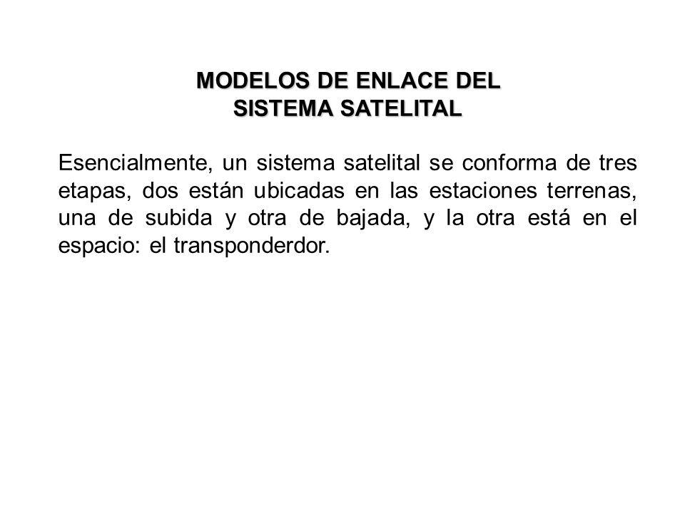 MODELOS DE ENLACE DEL SISTEMA SATELITAL Esencialmente, un sistema satelital se conforma de tres etapas, dos están ubicadas en las estaciones terrenas,