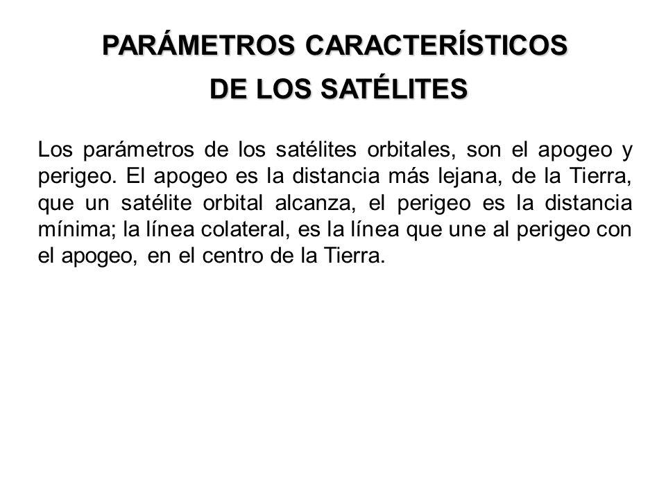 PARÁMETROS CARACTERÍSTICOS DE LOS SATÉLITES DE LOS SATÉLITES Los parámetros de los satélites orbitales, son el apogeo y perigeo. El apogeo es la dista