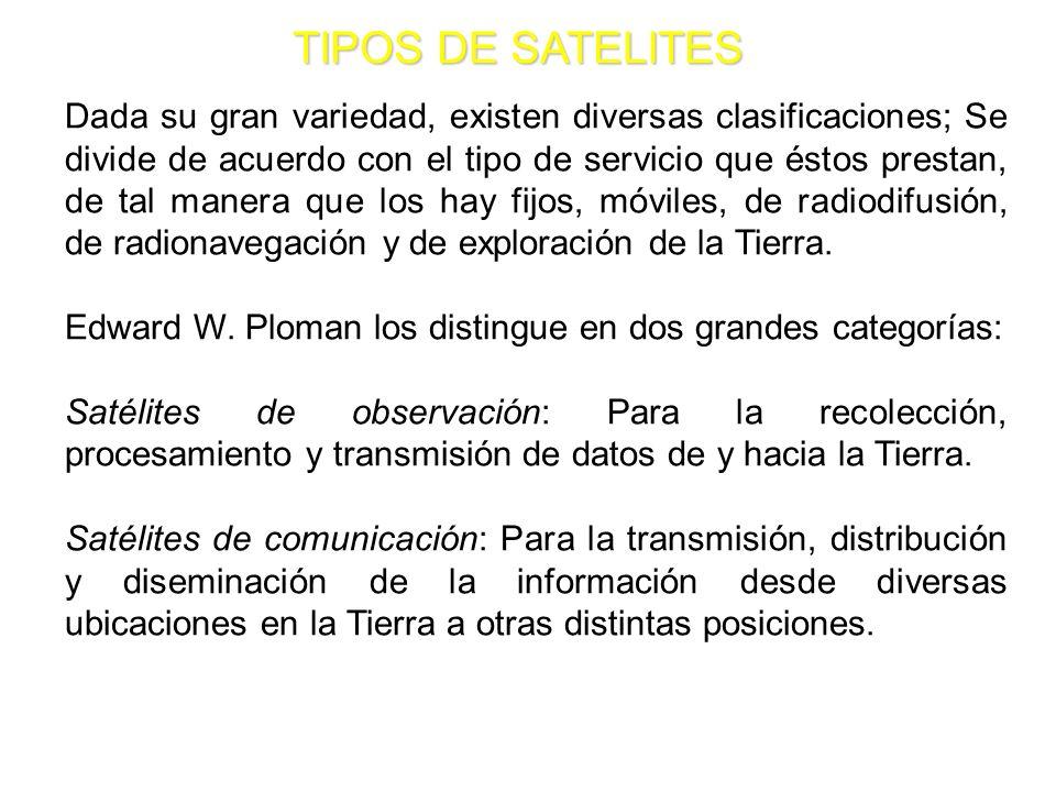 TIPOS DE SATELITES Dada su gran variedad, existen diversas clasificaciones; Se divide de acuerdo con el tipo de servicio que éstos prestan, de tal man