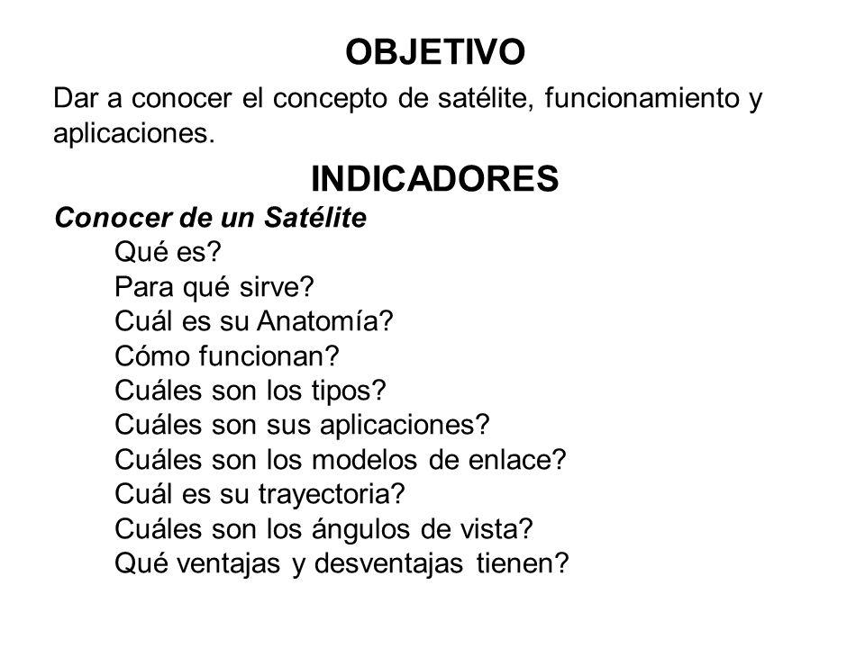 OBJETIVO Dar a conocer el concepto de satélite, funcionamiento y aplicaciones. INDICADORES Conocer de un Satélite Qué es? Para qué sirve? Cuál es su A