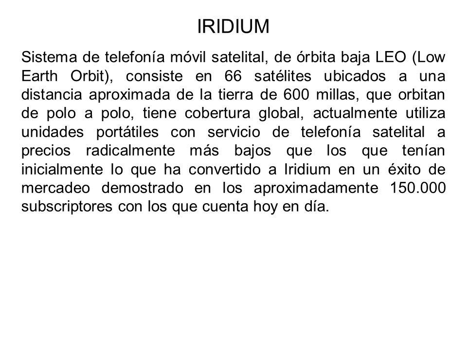 IRIDIUM Sistema de telefonía móvil satelital, de órbita baja LEO (Low Earth Orbit), consiste en 66 satélites ubicados a una distancia aproximada de la