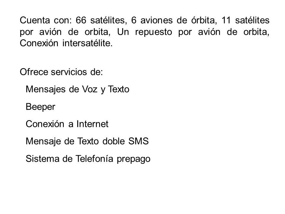 Cuenta con: 66 satélites, 6 aviones de órbita, 11 satélites por avión de orbita, Un repuesto por avión de orbita, Conexión intersatélite. Ofrece servi