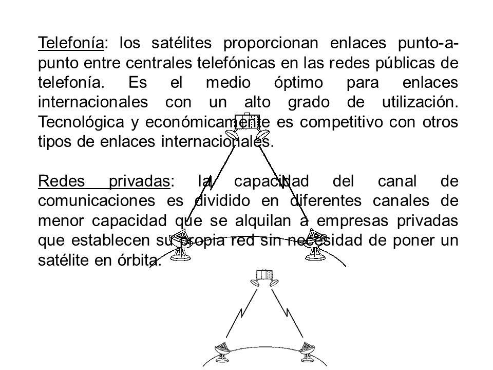 Telefonía: los satélites proporcionan enlaces punto-a- punto entre centrales telefónicas en las redes públicas de telefonía. Es el medio óptimo para e