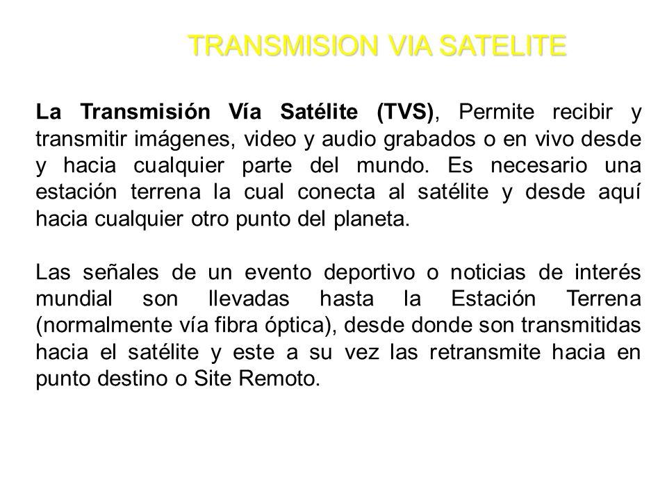 TRANSMISION VIA SATELITE La Transmisión Vía Satélite (TVS), Permite recibir y transmitir imágenes, video y audio grabados o en vivo desde y hacia cual