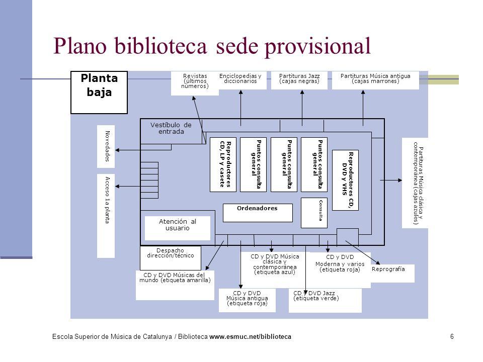 Escola Superior de Música de Catalunya / Biblioteca www.esmuc.net/biblioteca7 Plano biblioteca sede provisional Archivo de partituras de la JONC Partituras Didáctica del instrumento (cajas naranjas) Partituras vocales de música clásica y contemporánea (cajas azules).