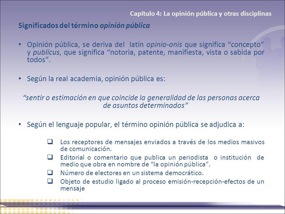 Significados del término opinión pública Opinión pública, se deriva del latín opinio-onis que significa concepto y publicus, que significa notoria, pa