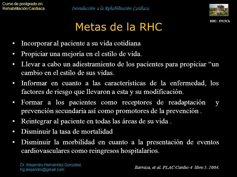 Curso de postgrado en Rehabilitación Cardiaca Introducción a la Rehabilitación Cardiaca Metas de la RHC RHC- INCICh Dr. Alejandro Hernández González.