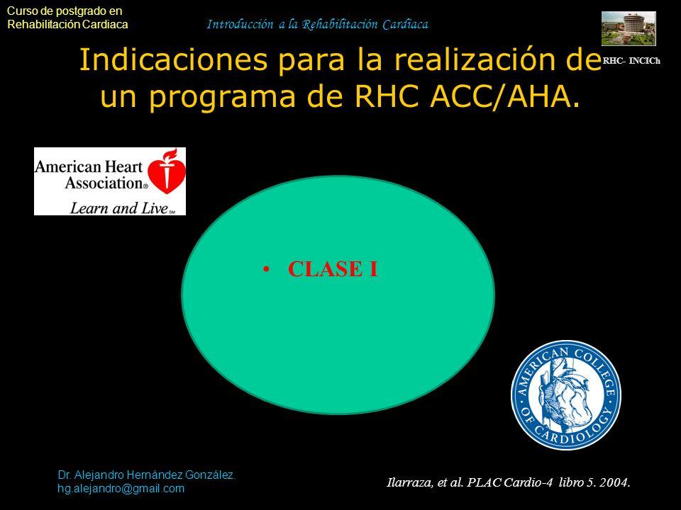Curso de postgrado en Rehabilitación Cardiaca Introducción a la Rehabilitación Cardiaca Indicaciones para la realización de un programa de RHC ACC/AHA