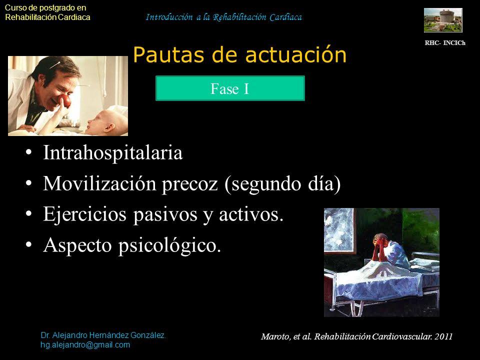 Curso de postgrado en Rehabilitación Cardiaca Maroto, et al. Rehabilitación Cardiovascular. 2011 Introducción a la Rehabilitación Cardiaca Pautas de a