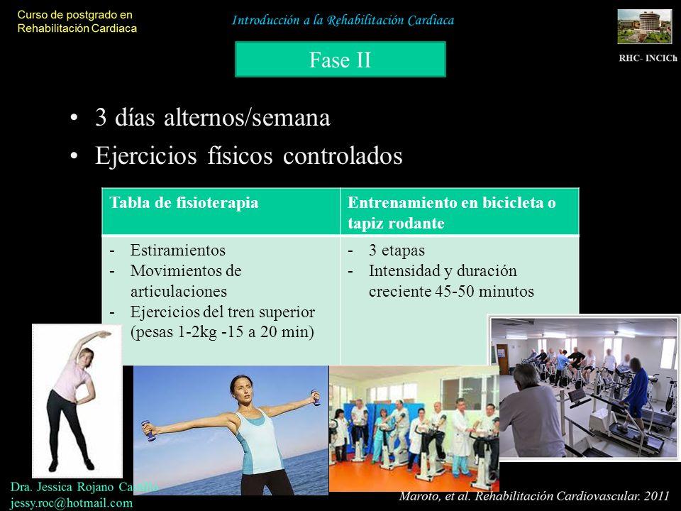 3 días alternos/semana Ejercicios físicos controlados Tabla de fisioterapiaEntrenamiento en bicicleta o tapiz rodante -Estiramientos -Movimientos de a