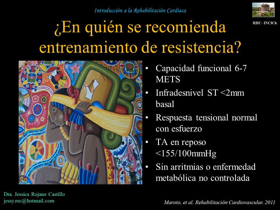 ¿En quién se recomienda entrenamiento de resistencia? Capacidad funcional 6-7 METS Infradesnivel ST <2mm basal Respuesta tensional normal con esfuerzo