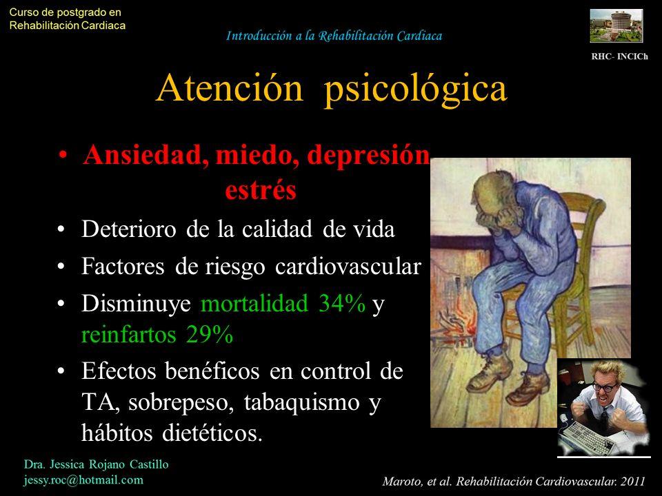 Atención psicológica Ansiedad, miedo, depresión, estrés Deterioro de la calidad de vida Factores de riesgo cardiovascular Disminuye mortalidad 34% y r