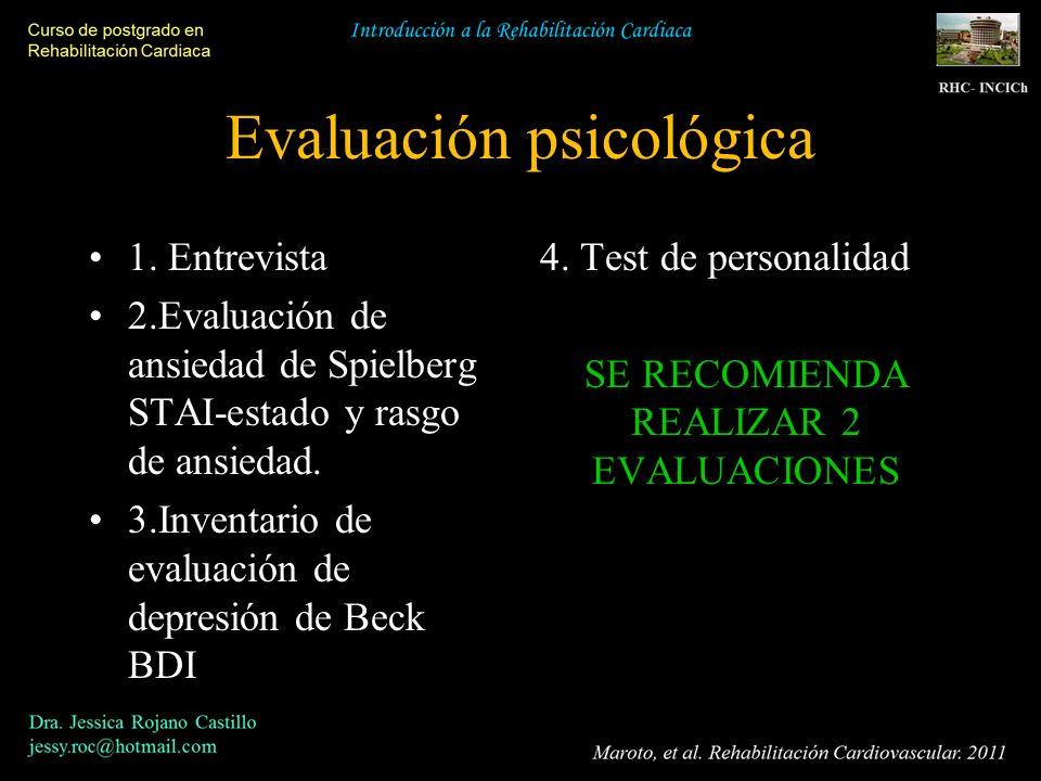 Evaluación psicológica 1. Entrevista 2.Evaluación de ansiedad de Spielberg STAI-estado y rasgo de ansiedad. 3.Inventario de evaluación de depresión de