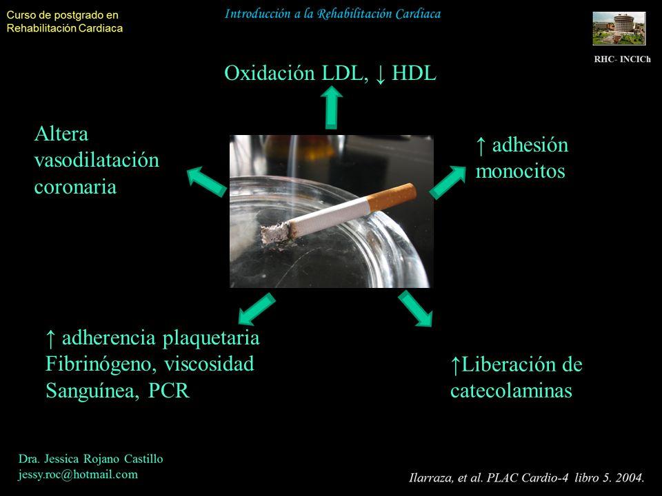 Oxidación LDL, HDL Altera vasodilatación coronaria adherencia plaquetaria Fibrinógeno, viscosidad Sanguínea, PCR Liberación de catecolaminas adhesión