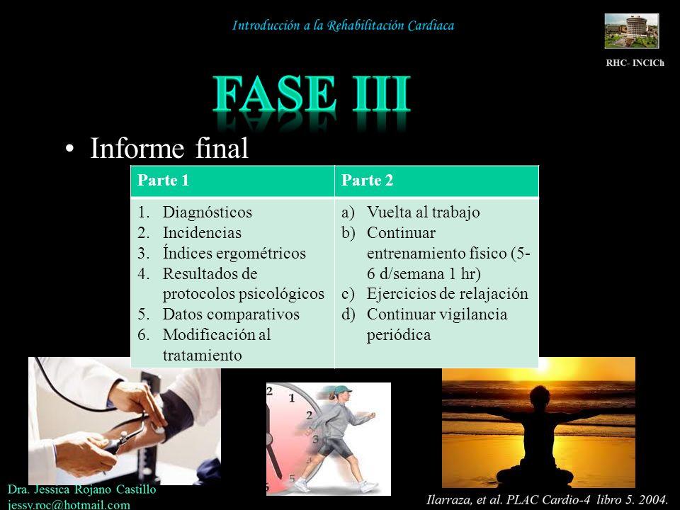 Informe final Parte 1Parte 2 1.Diagnósticos 2.Incidencias 3.Índices ergométricos 4.Resultados de protocolos psicológicos 5.Datos comparativos 6.Modifi